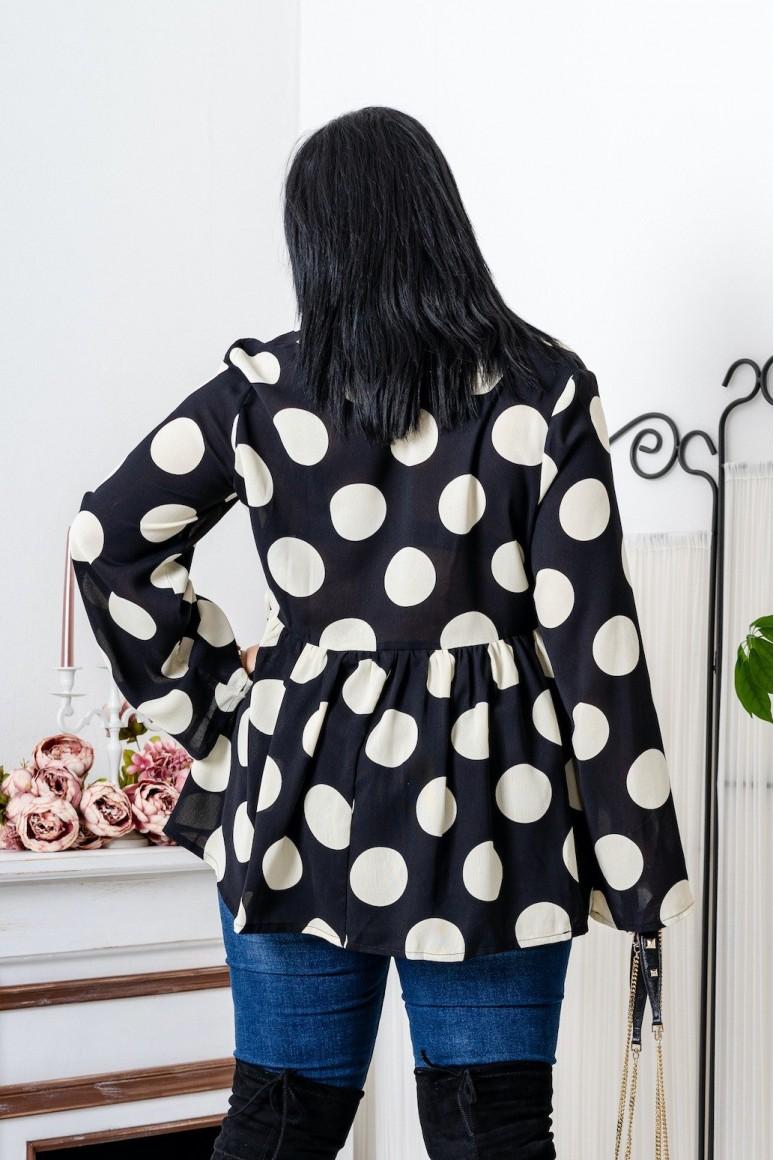 Дамска черна риза на бели точки