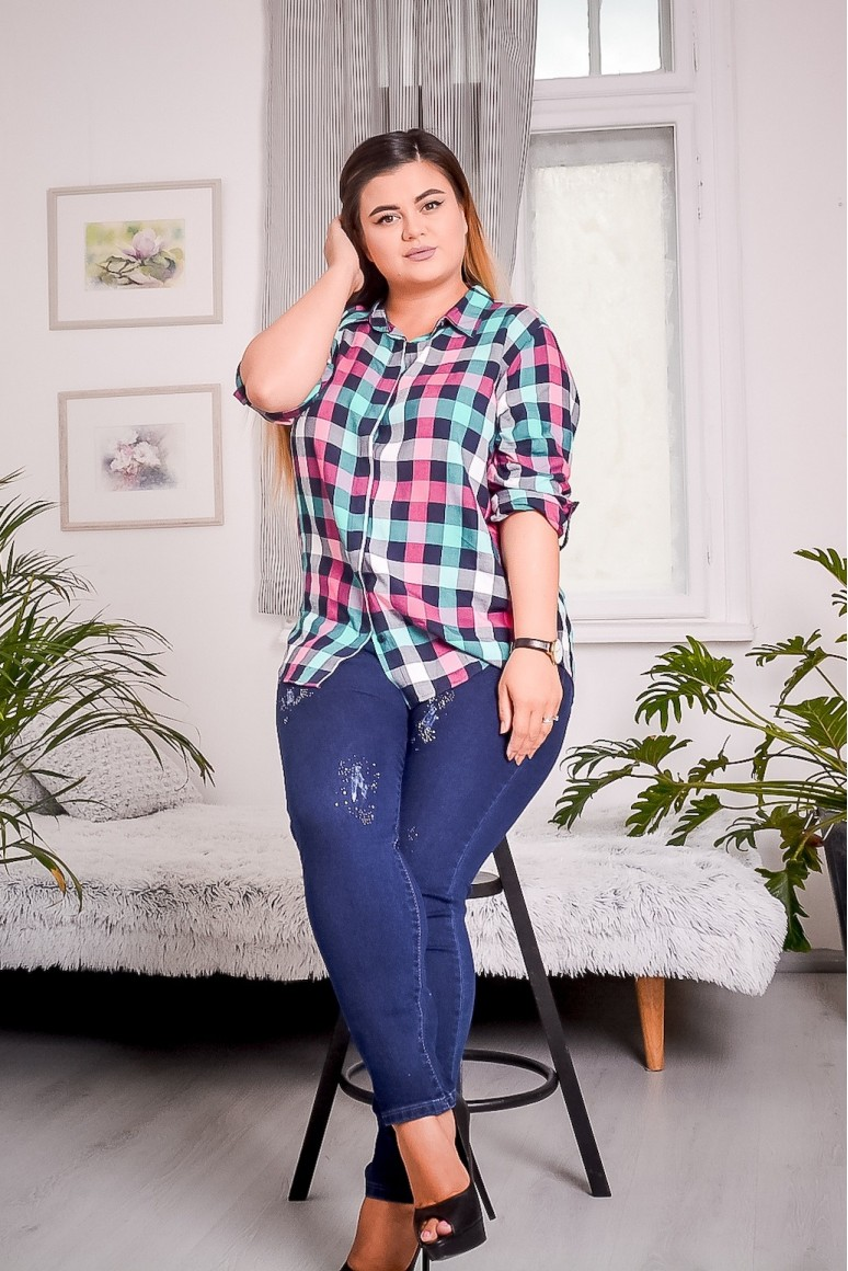 Макси риза синьо и розово каре