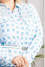 Макси риза светло синьо каре с камъни
