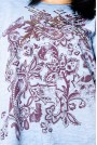 Макси синя блуза с лилав принт и пайети