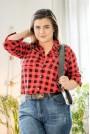 Макси риза червено и черно каре с камъни