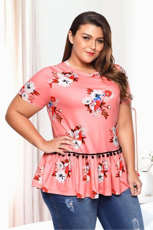 Розова макси блуза с къс ръкав на цветя