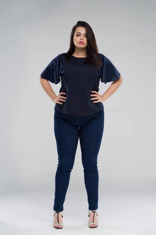 Синя макси тениска със сатенени ръкави