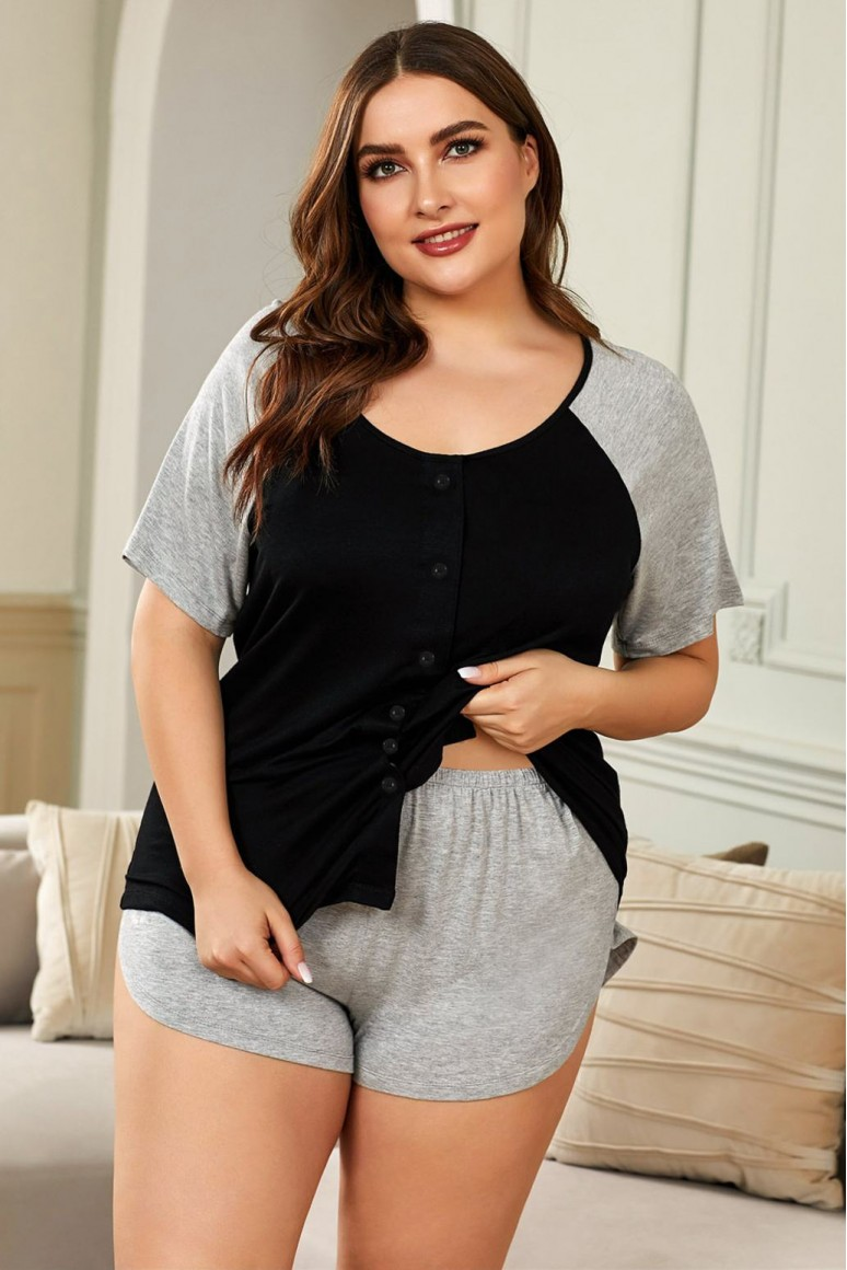 Макси тениска и панталонки за сън в сиво и черно