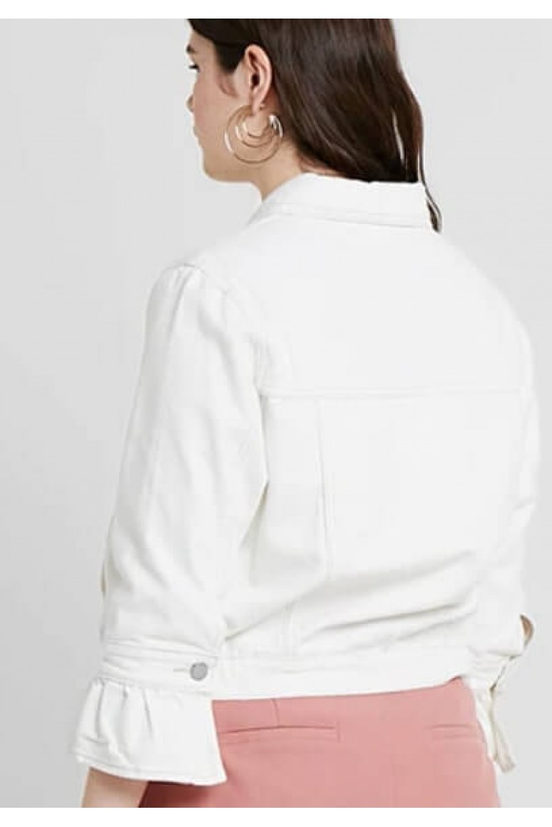 Макси бяло дънково яке с разкроени в края ръкави