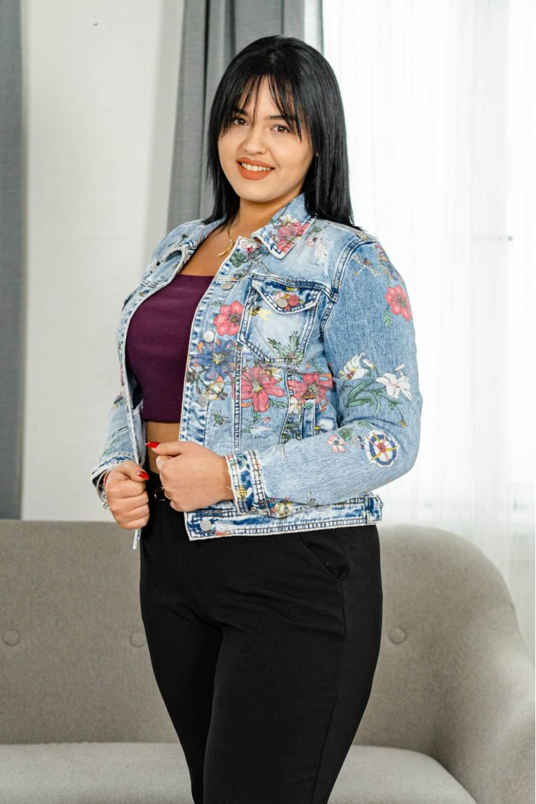 Макси дънково яке с цветен принт