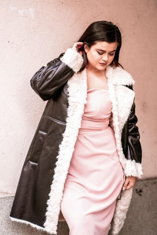 Дълго еко кожено палто с бял пух