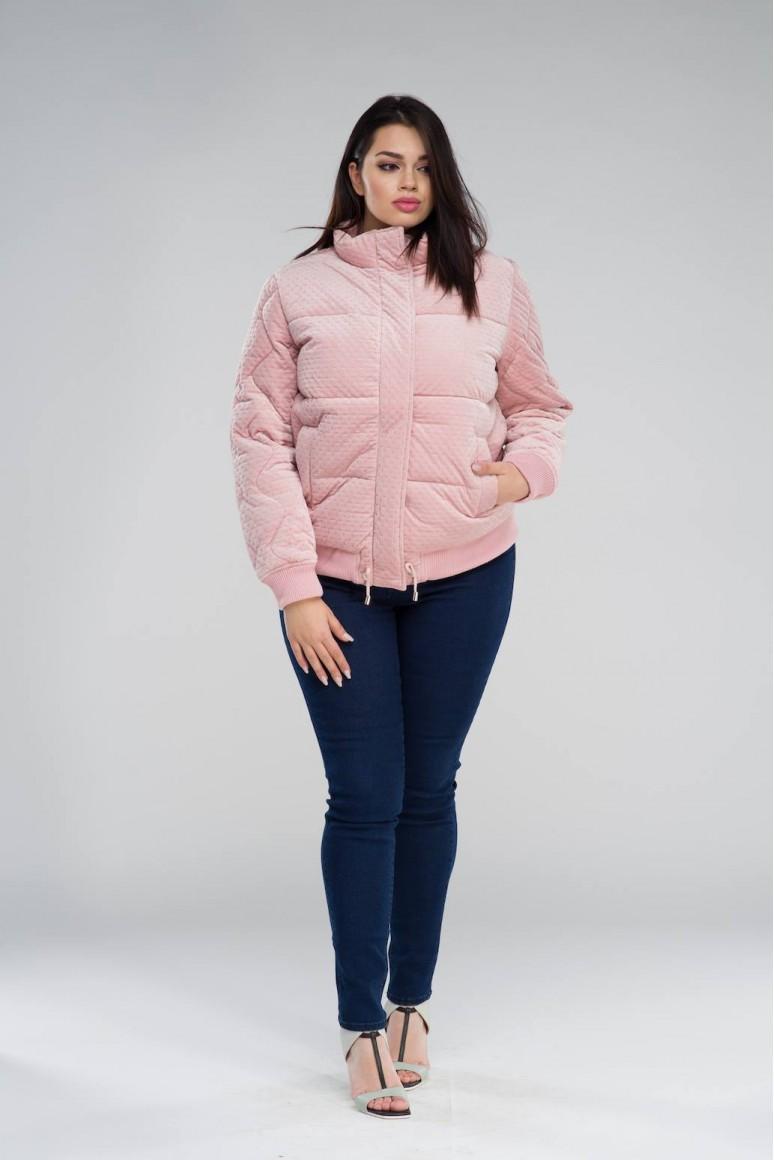 Късо розово макси яке кадифе