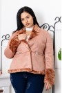 Розово късо палто с пух