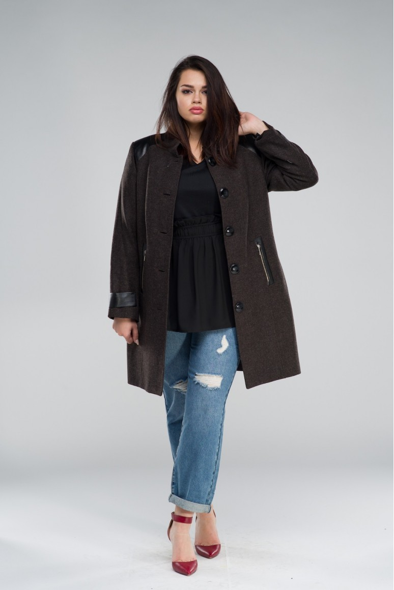 Вълнено макси палто Мартина - тъмно кафяво