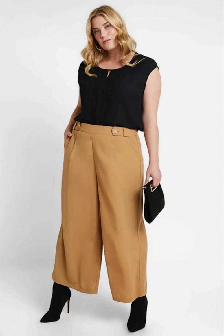 Дамски макси панталон с широки крачоли