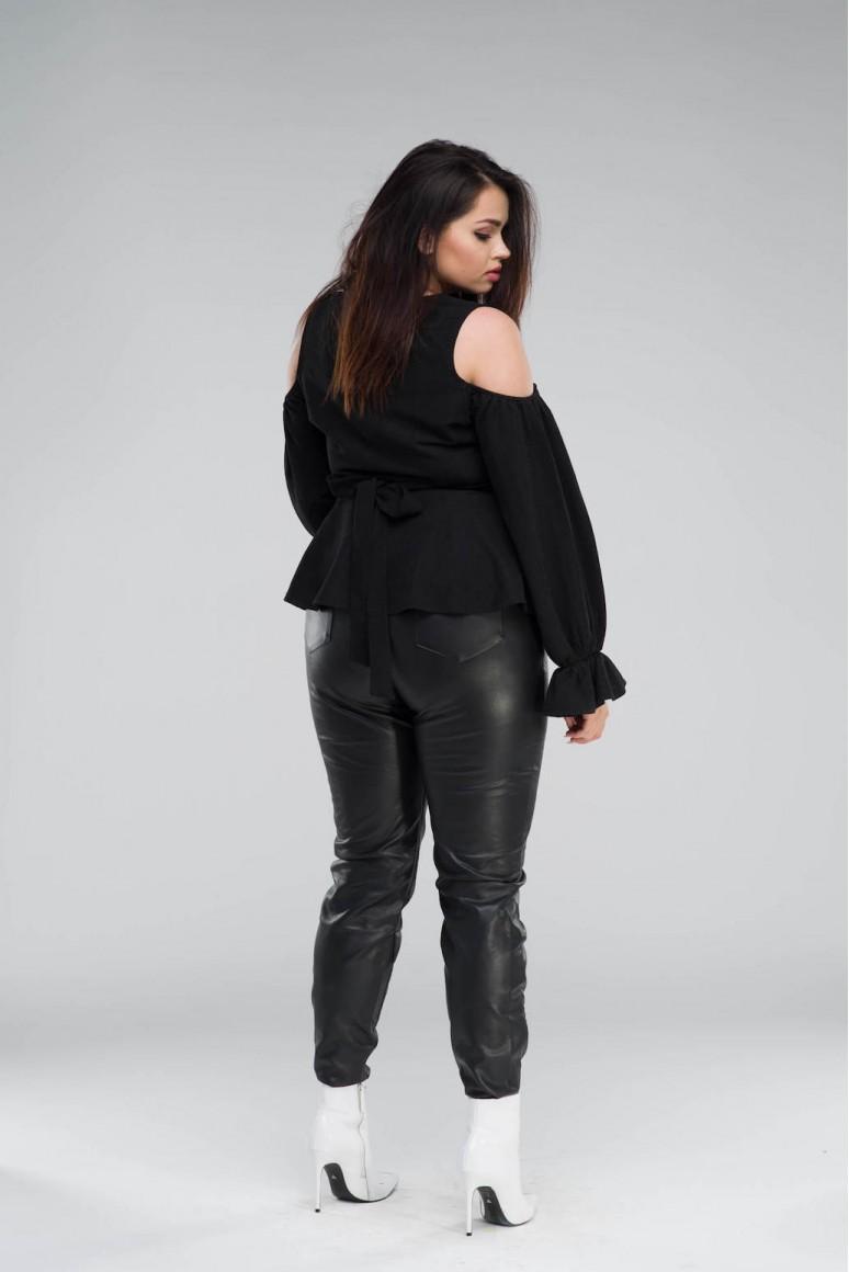 Черен макси панталон - еко кожа