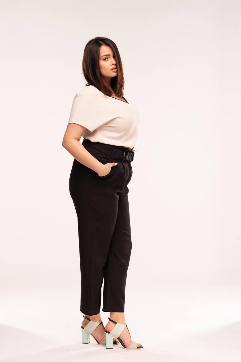 Черен макси панталон с двойна катарама