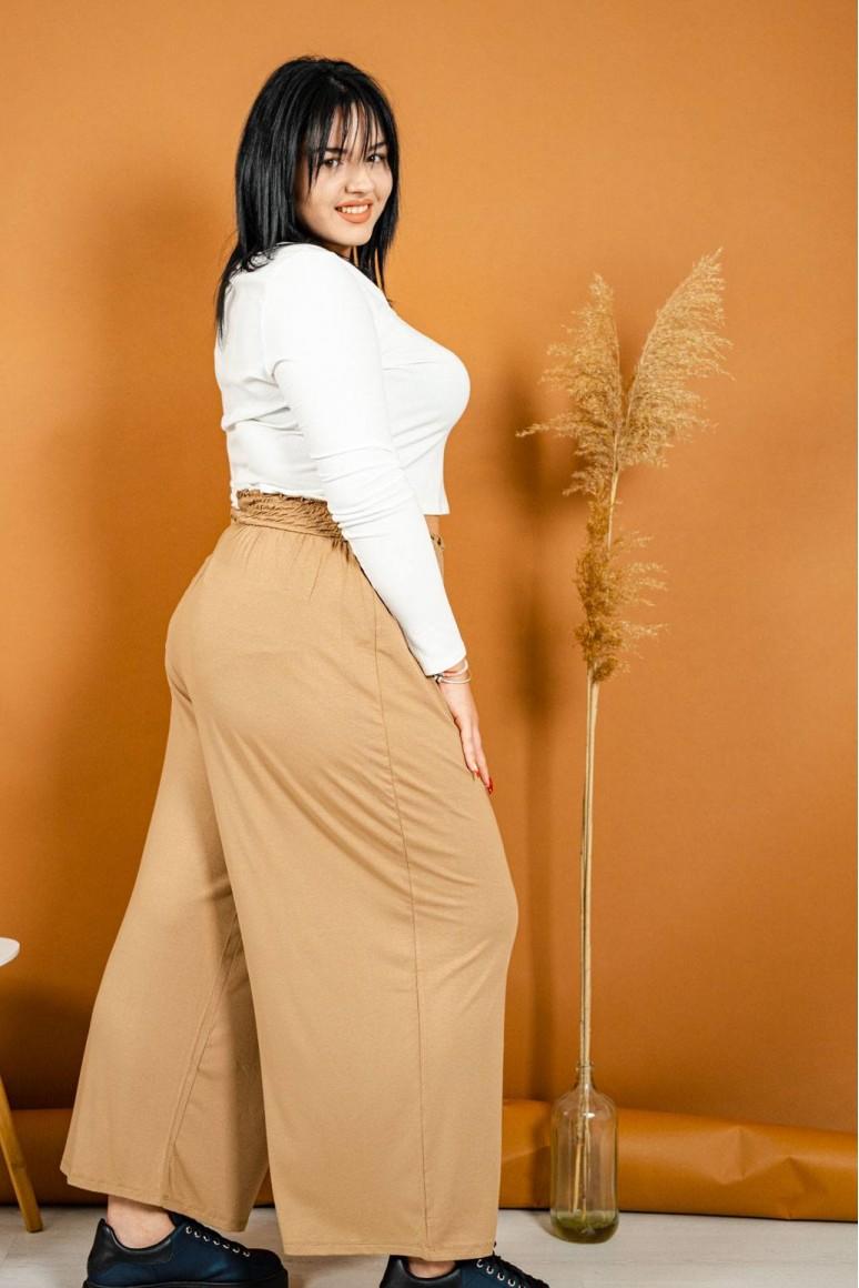 Широк светлокафяв макси панталон