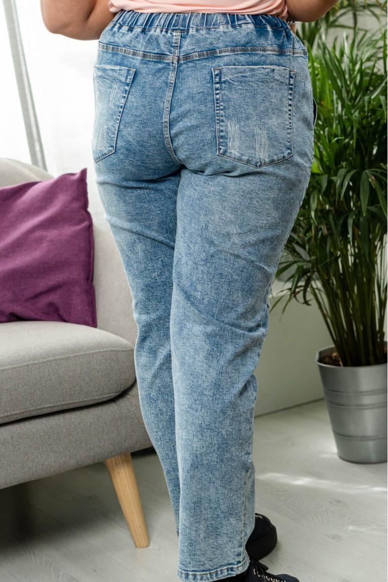 Макси модерни дънки избелял деним с ластик