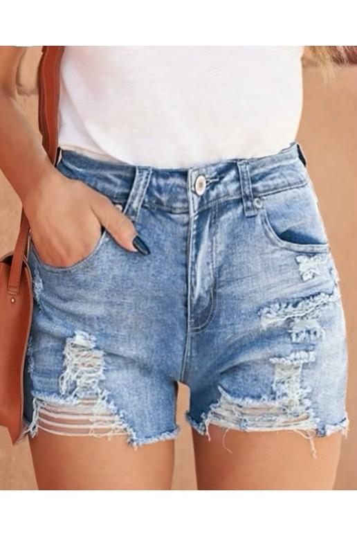 Светли макси къси дънкови панталони с прокъсани крачоли