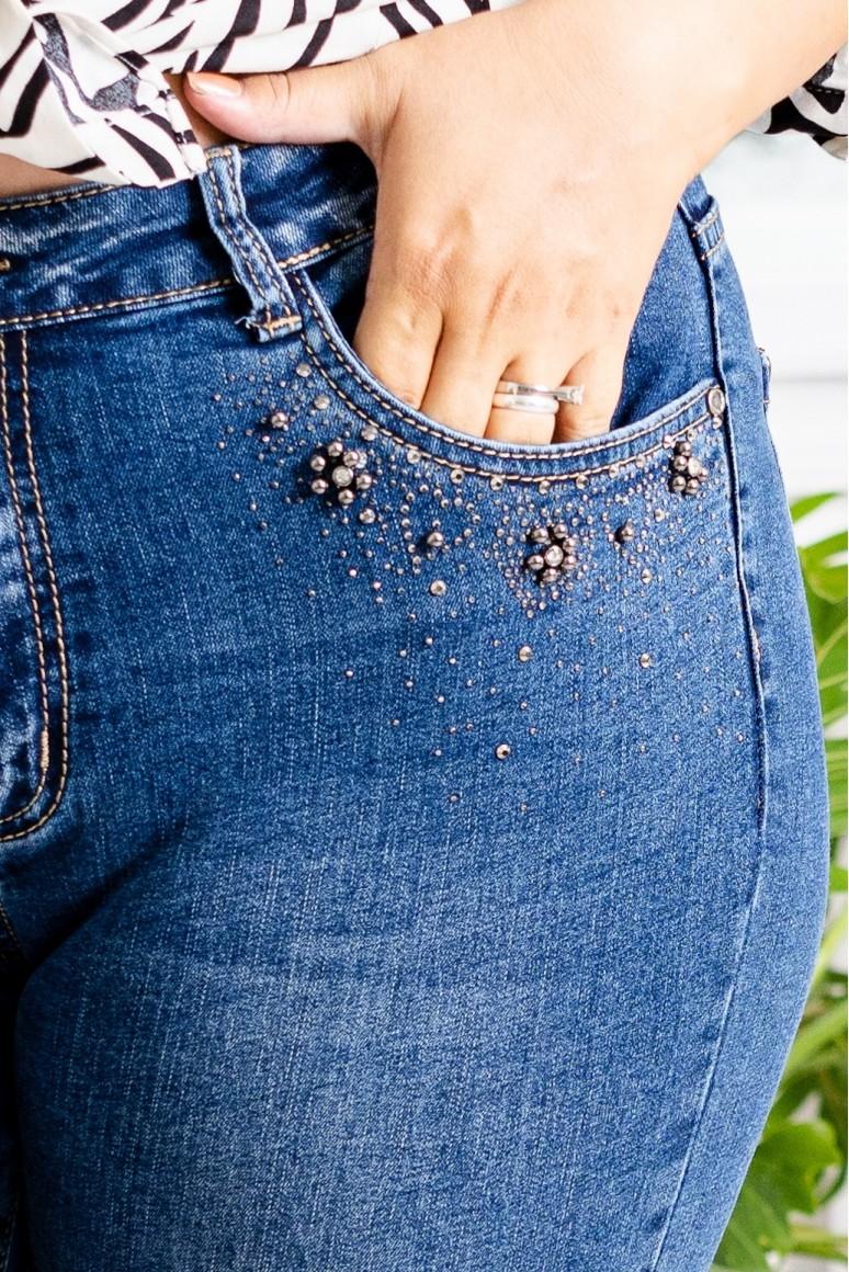 Макси дънки с камъчета при джобовете