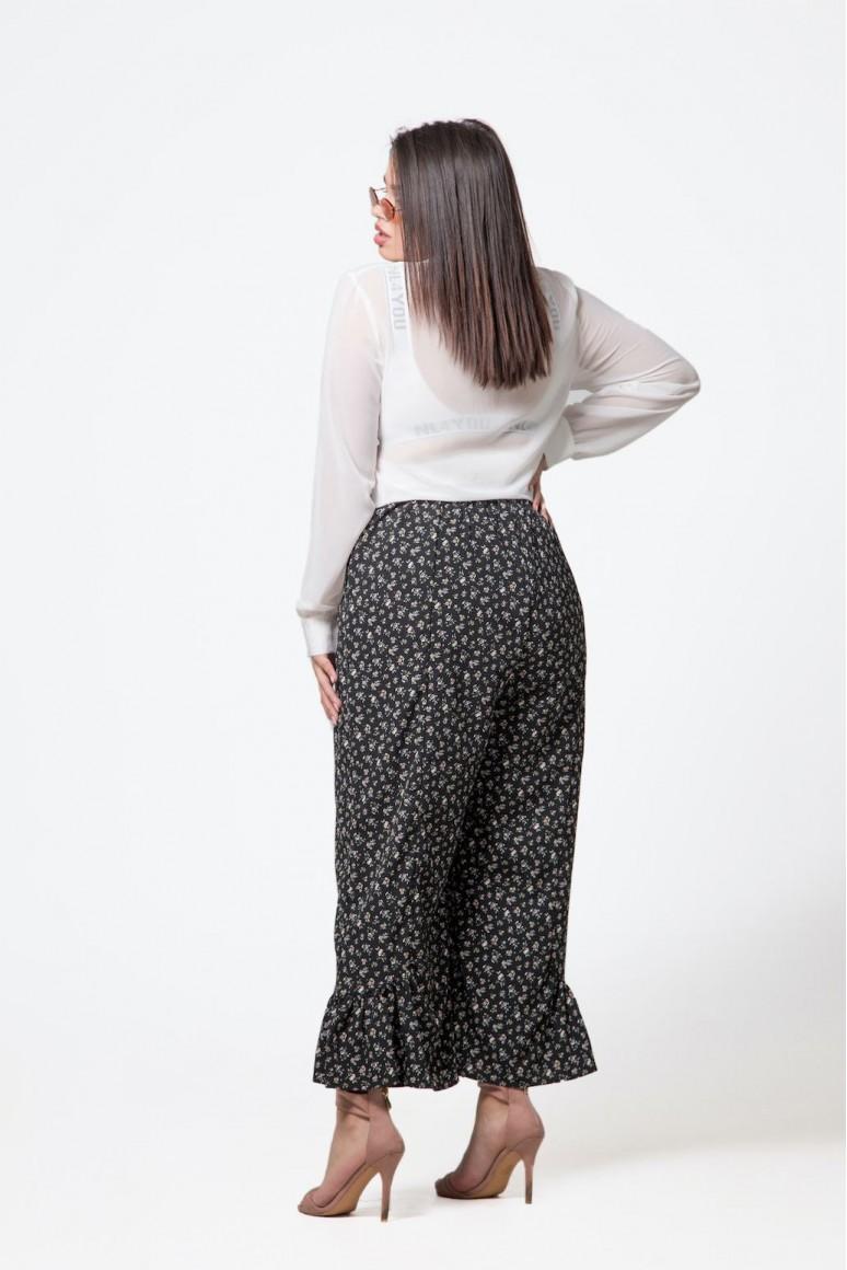 Макси панталон до глезена с флорален десен