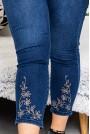 Макси Skinny дънки с камъчета и бродерия