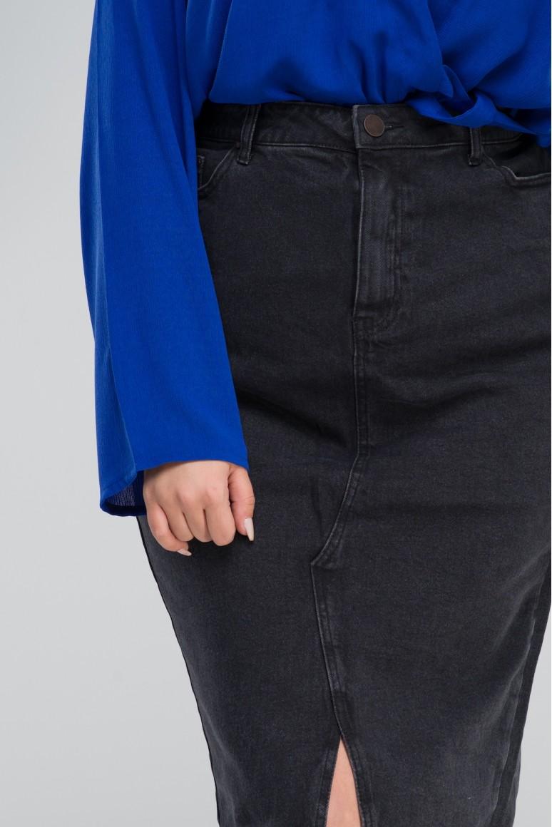 Дънкова макси пола тип молив в избеляло черно
