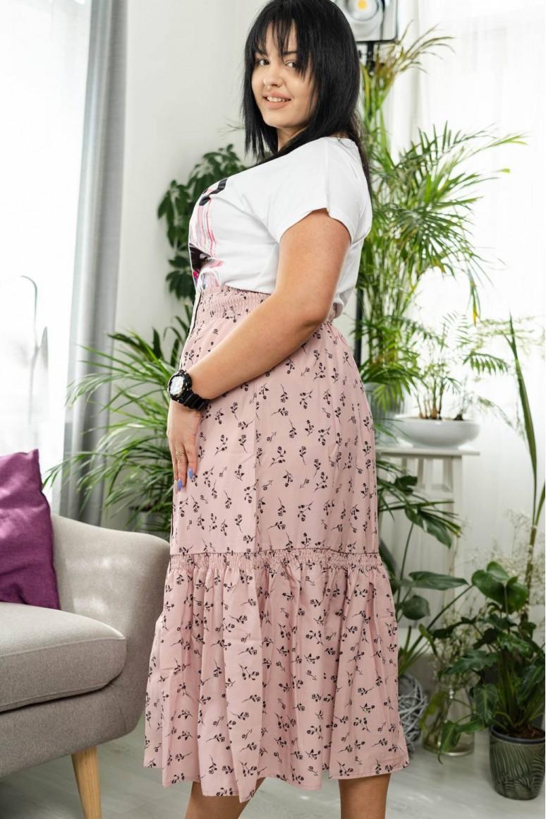 Дълга пола с флорален принт и декоративни копчет