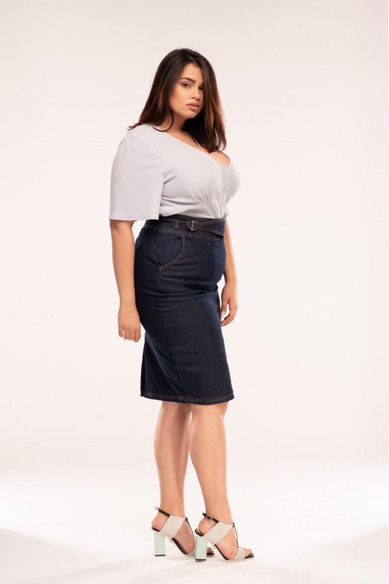 Макси дънкова пола с италиански джоб