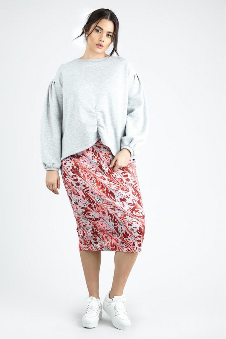 Макси пола с висока талия в абстрактен принт