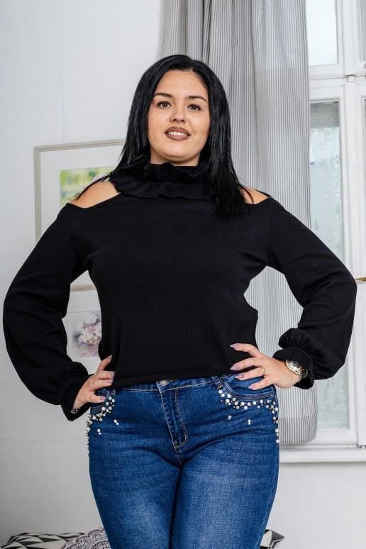 Черен пуловер поло с голи рамене