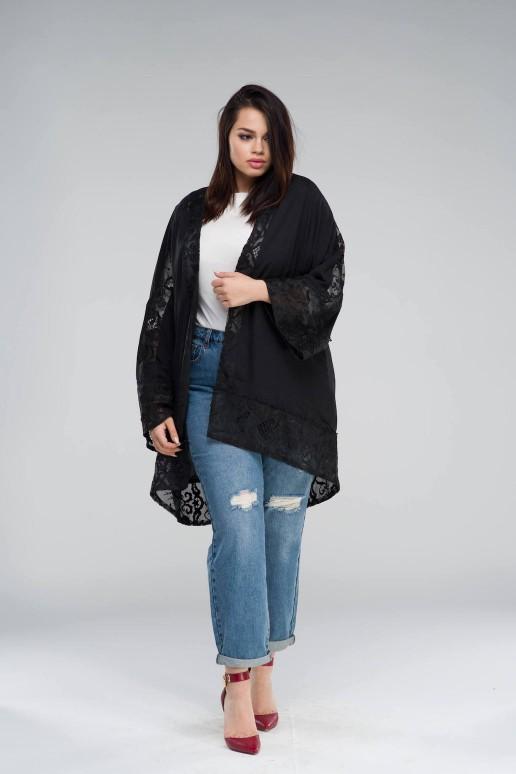 Черно кимоно/жилетка в големи размери