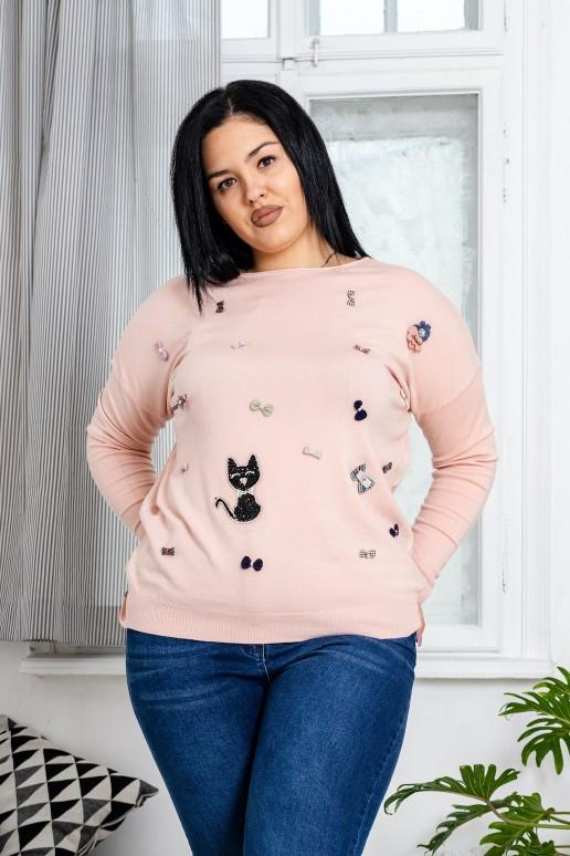 Макси пуловерче с панделки и коте