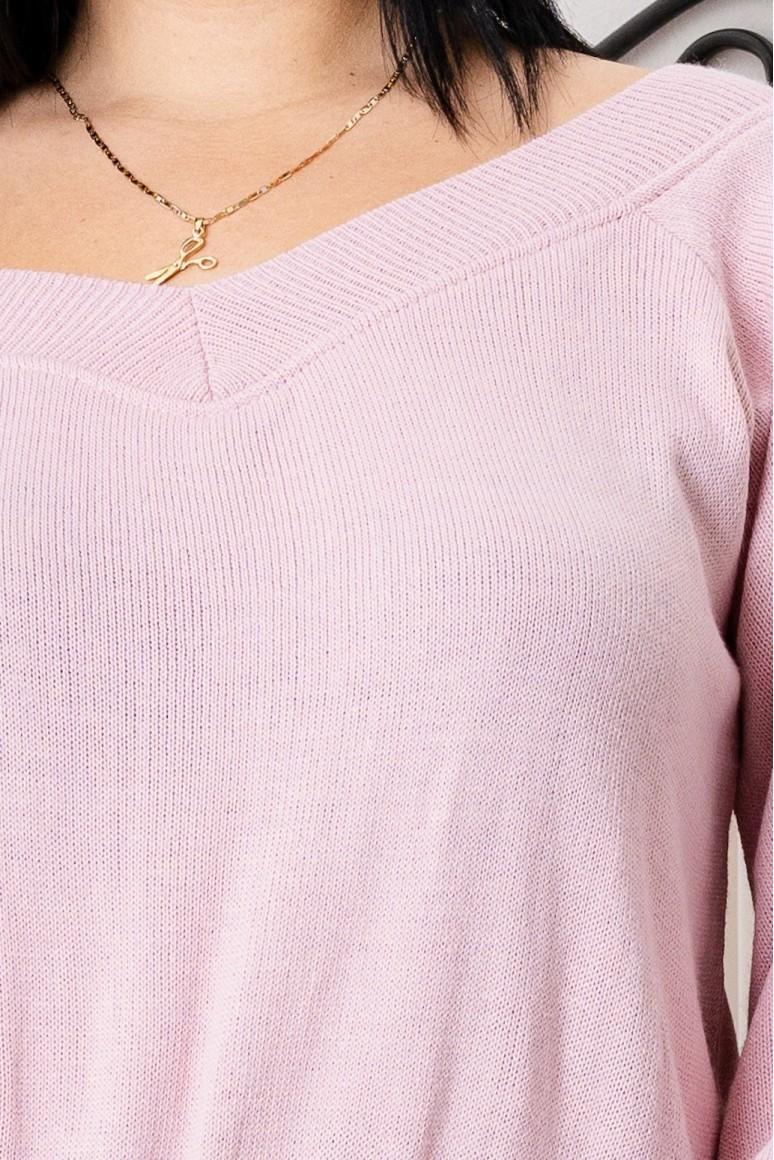 Пуловер с широко V деколте и ръкави балон
