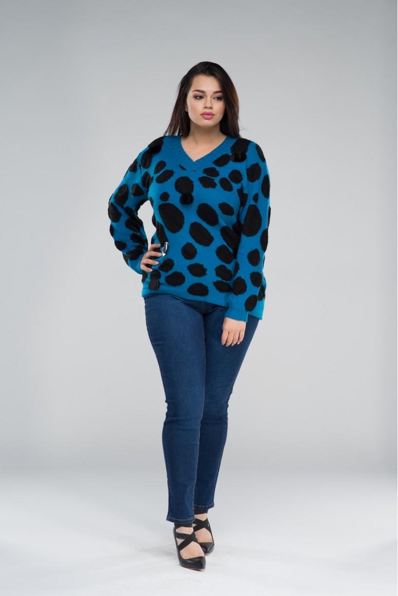 Син макси пуловер на черни точки