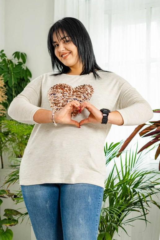 Бежова блуза със златно сърце от пайети