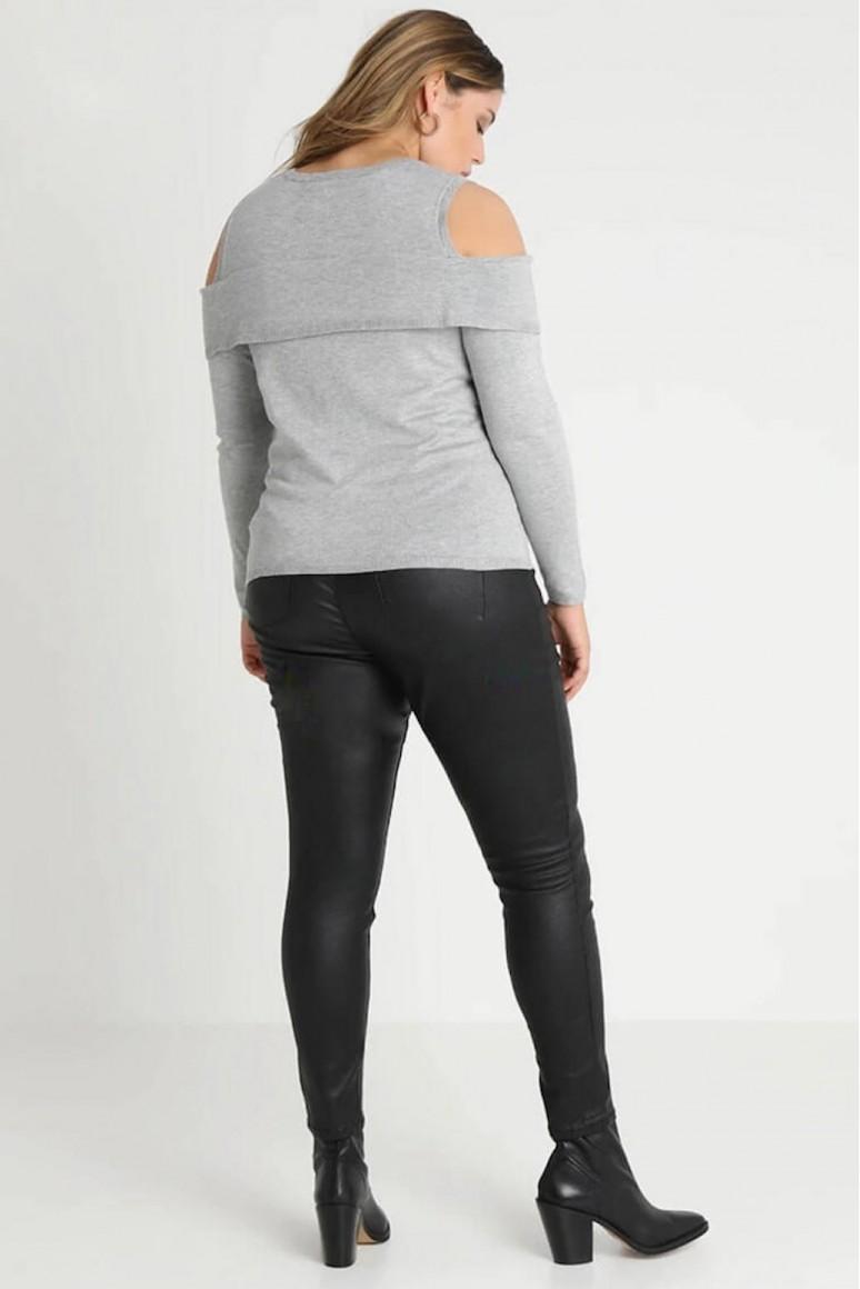 Сив макси пуловер с отворени рамене