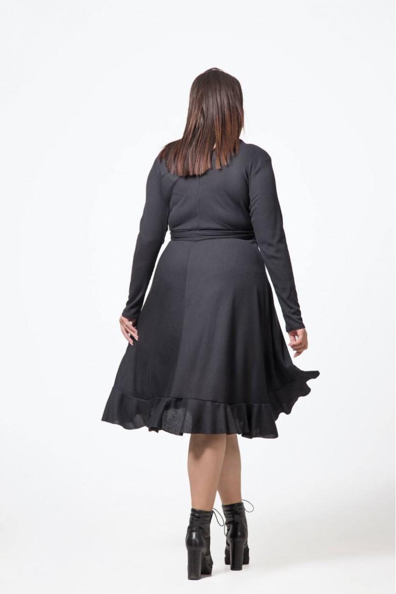 Черна макси рокля с колан