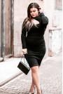 Черна макси рокля с капси