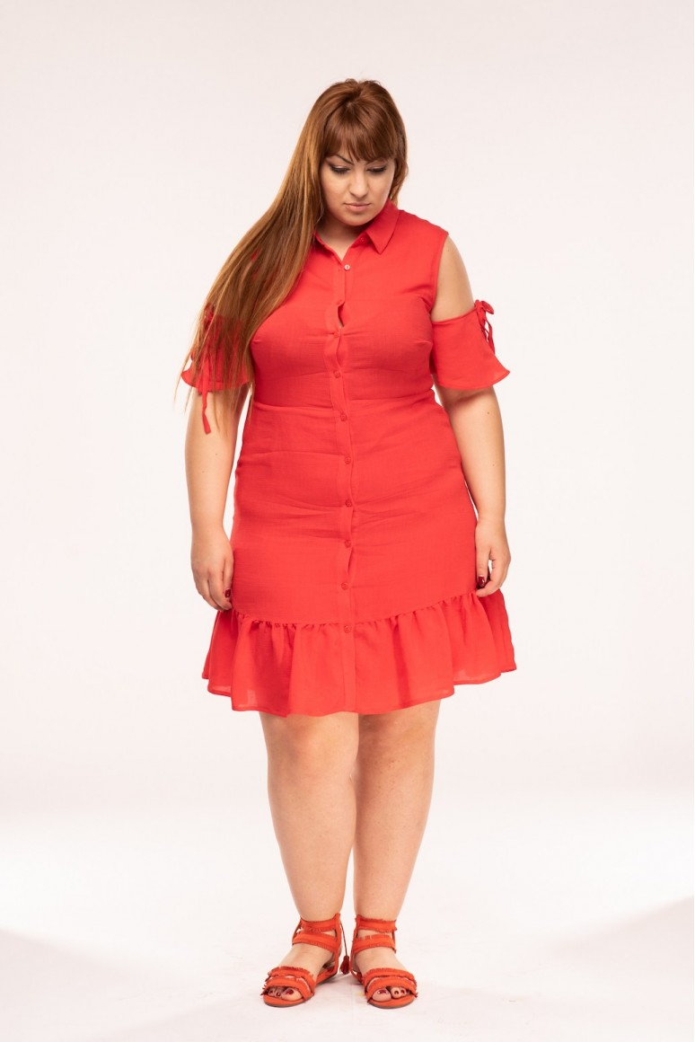 Лятна макси рокля в коралово червено с изрязани рамене