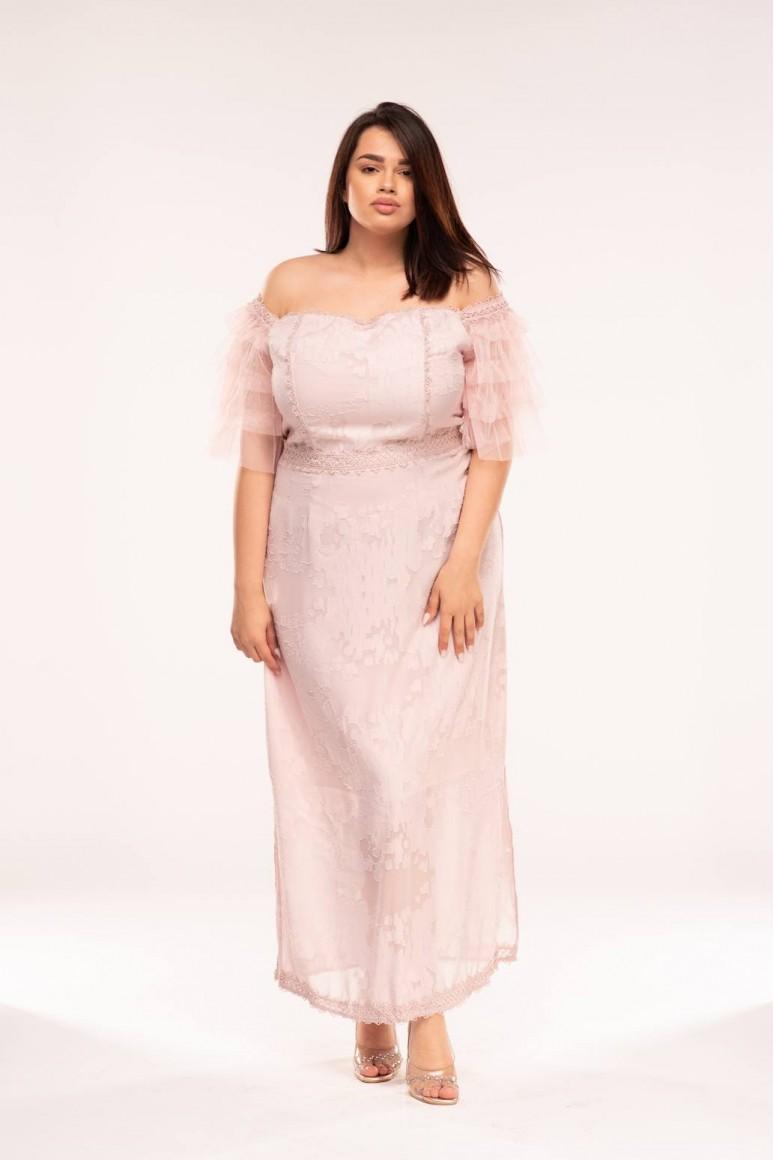 Дълга макси рокля с тюлен ръкав