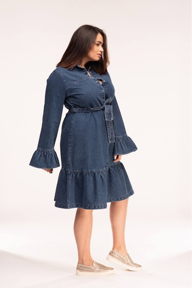 Тъмна дънкова рокля с колан