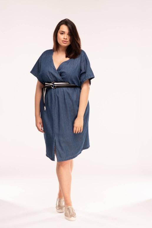 Макси тънка дънкова рокля с колан