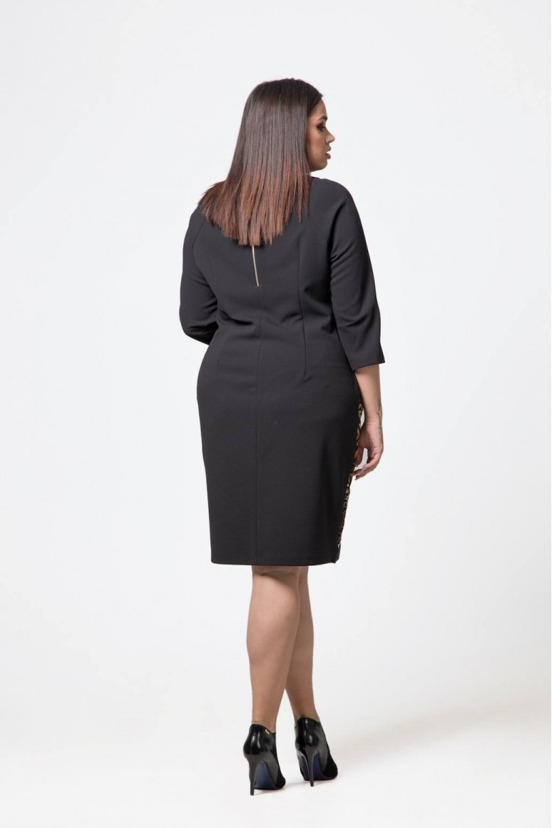 Макси рокля Девон в кафяво с геометричен принт