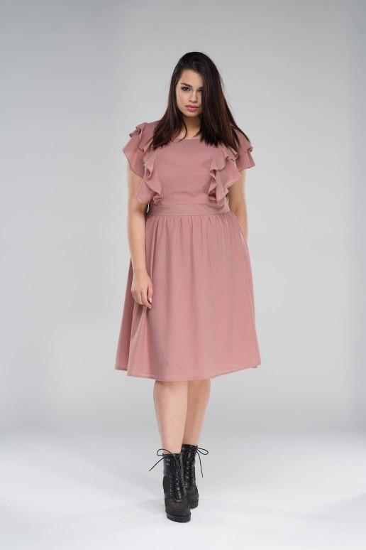 Макси рокля с къс ръкав в пепел от роза
