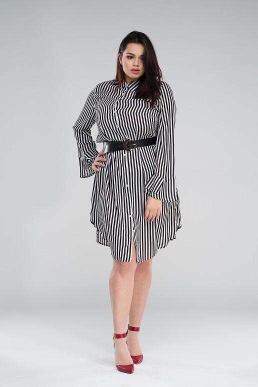 Макси рокля тип риза в черно/бяло райе