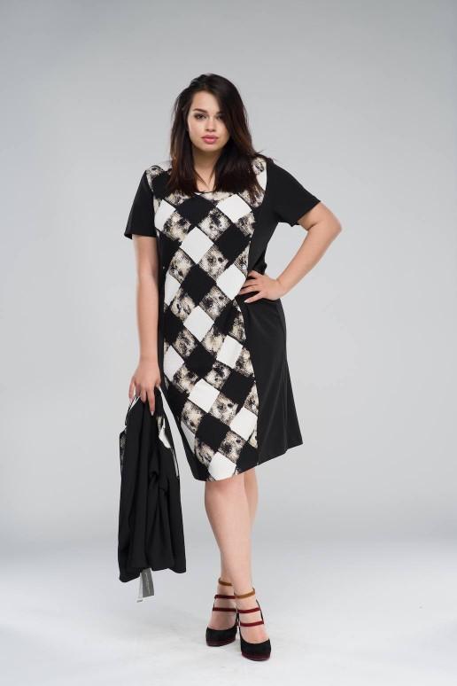 Комплект макси рокля и сако в мраморно каре