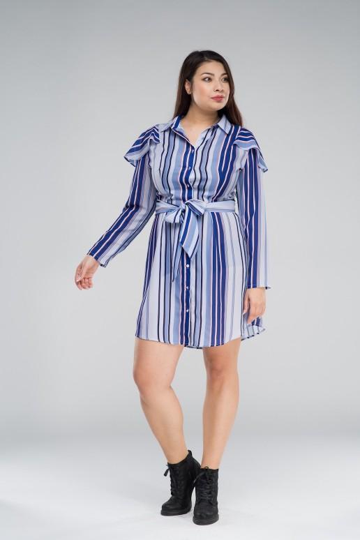Макси рокля тип риза на синьо райе