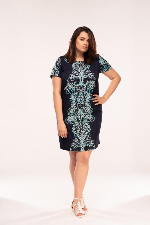 Права макси рокля с къс ръкав в тъмно синьо с орнаменти в тюркоаз