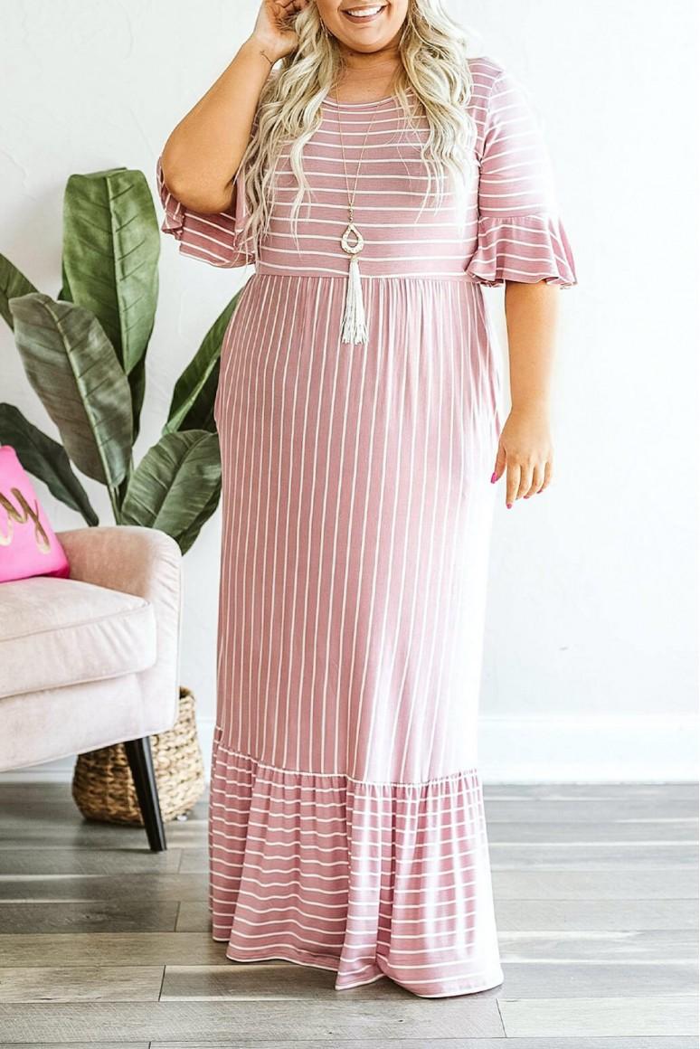Дълга лятна макси рокля в розово райе