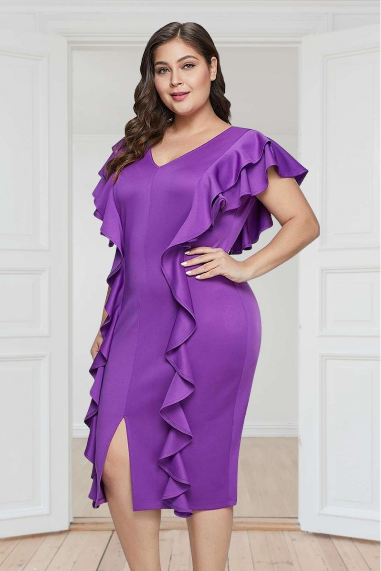 Лилава коктейлна макси рокля с вълнички