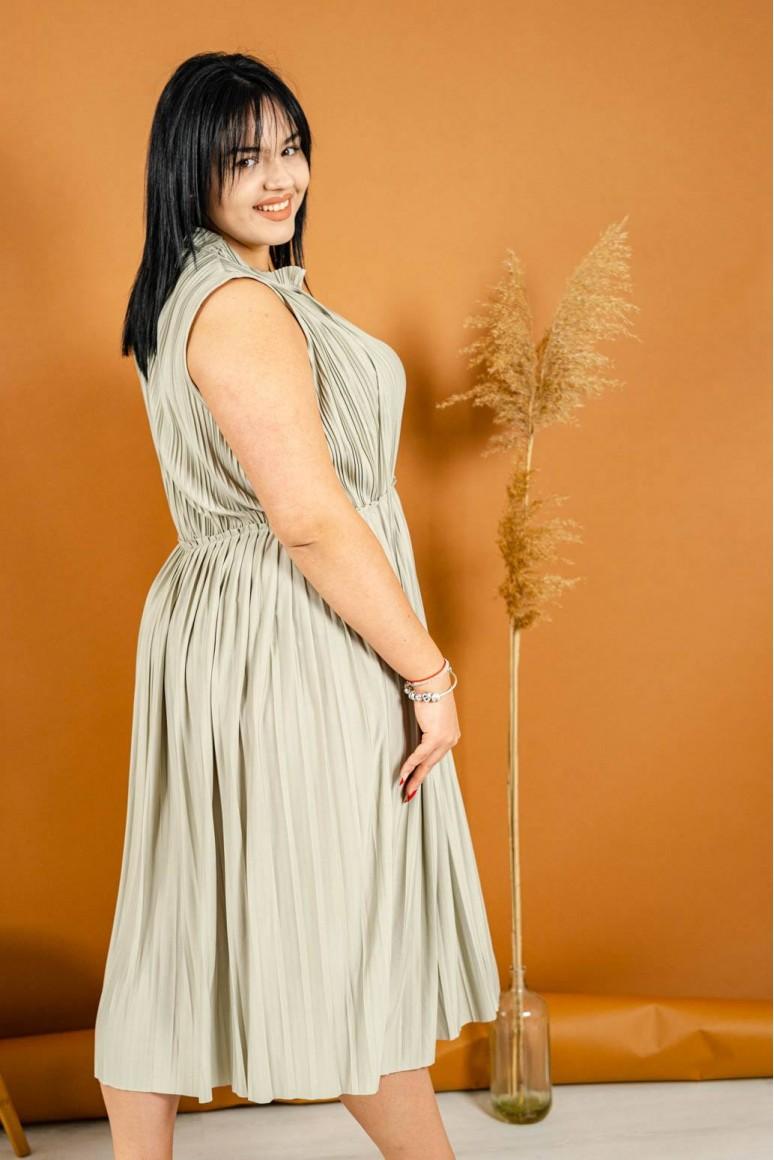 Маслинена рокля солей без ръкави