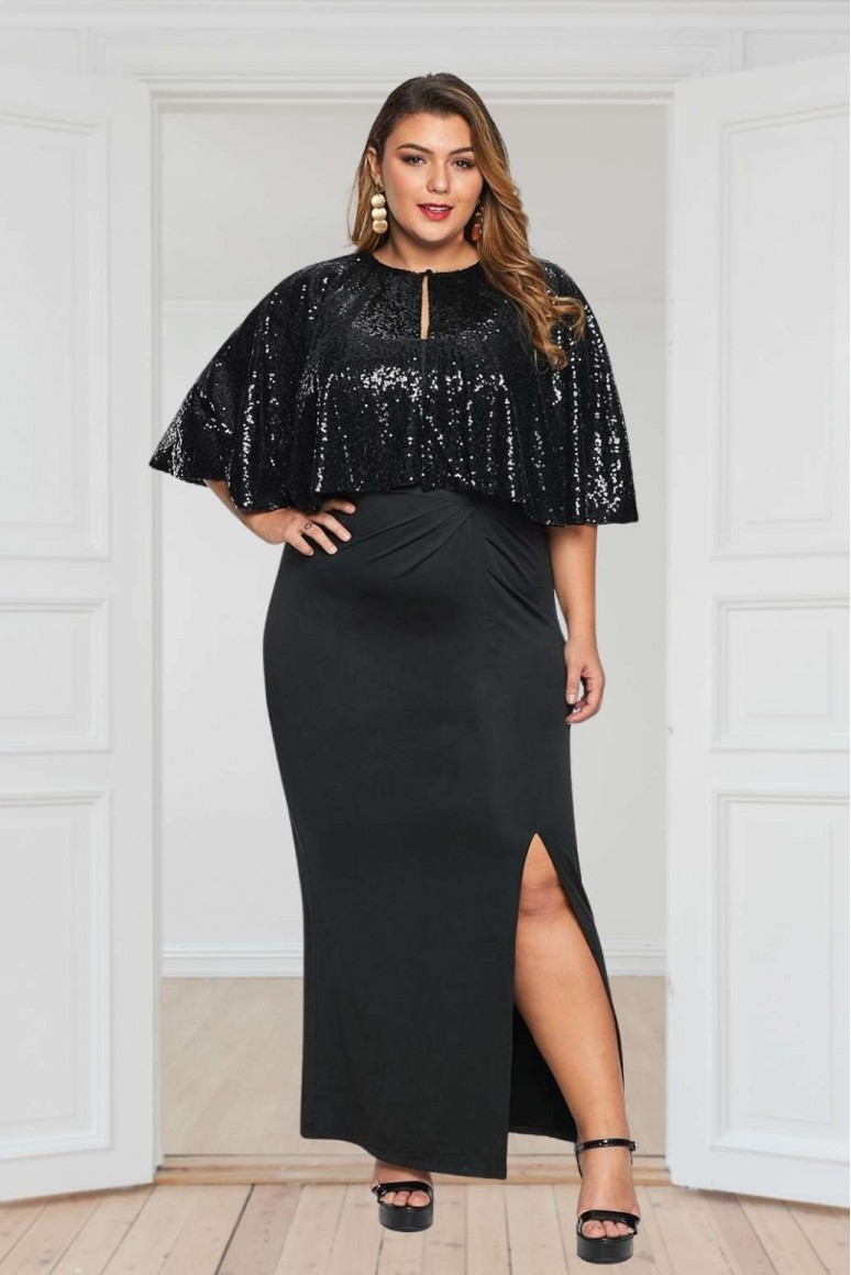 Официална макси черна рокля с пайети